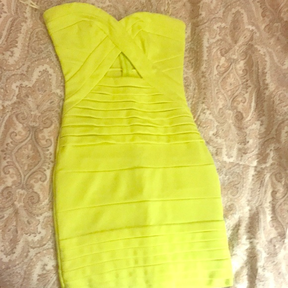 9ff5f5483d1 Fluorescent yellow Neon cutout bodycon dress. M 5b84ae7d1e2d2d0b09463cdb